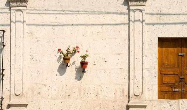 arrangement of colors and a closed door