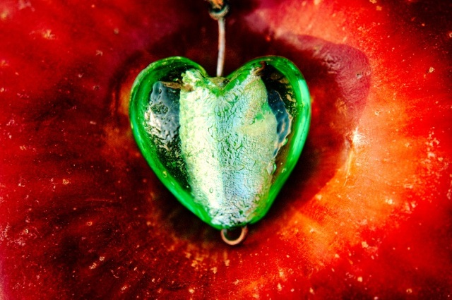 The green heart of a lonely apple