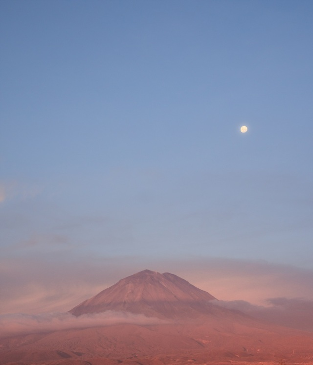 moon volcano and afternoon